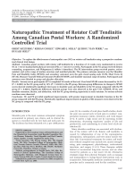 Naturopathic treatment of rotator cuff tendinitis among Canadian postal workersA randomized controlled trial.