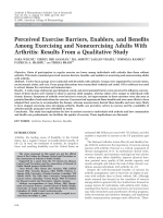 Perceived exercise barriers enablers and benefits among exercising and nonexercising adults with arthritisResults from a qualitative study.