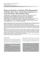 Physical inactivity in patients with rheumatoid arthritisData from twenty-one countries in a cross-sectional international study.
