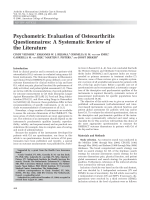 Psychometric evaluation of osteoarthritis questionnairesA systematic review of the literature.