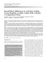 Racialethnic differences in activities of daily living disability in older adults with arthritisA longitudinal study.