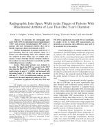 Radiographic joint space width in the fingers of patients with rheumatoid arthritis of less than one year's duration.