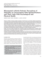 Rheumatoid arthritis patients' perceptions of mutuality in conversations with spousespartners and their links with psychological and physical health.