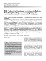 Risk factors for functional limitations in patients with long-standing ankylosing spondylitis.