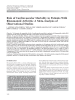 Risk of cardiovascular mortality in patients with rheumatoid arthritisA meta-analysis of observational studies.