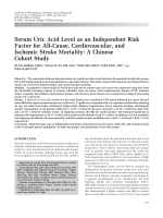 Serum uric acid level as an independent risk factor for all-cause cardiovascular and ischemic stroke mortalityA chinese cohort study.