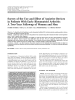 Survey of the use and effect of assistive devices in patients with early rheumatoid arthritisA two-year followup of women and men.