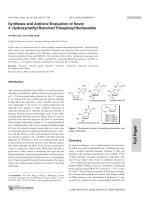 Synthesis and Antiviral Evaluation of Novel 4 В╨Ж-Hydroxymethyl Branched Thioapiosyl Nucleosides.