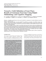 Toward a valid definition of gout flareResults of consensus exercises using delphi methodology and cognitive mapping.