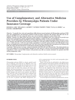 Use of complementary and alternative medicine providers by fibromyalgia patients under insurance coverage.