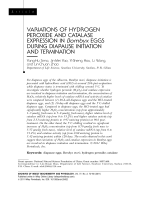 Variations of hydrogen peroxide and catalase expression in Bombyx eggs during diapause initiation and termination.
