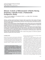 Disease activity of rheumatoid arthritis during pregnancyResults from a nationwide prospective study.