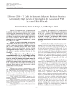 Effector CD8+ T cells in systemic sclerosis patients produce abnormally high levels of interleukin-13 associated with increased skin fibrosis.