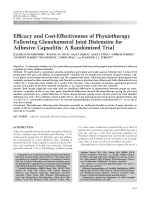 Efficacy and cost-effectiveness of physiotherapy following glenohumeral joint distension for adhesive capsulitisA randomized trial.