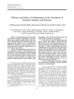 Efficacy and safety of leflunomide in the treatment of psoriatic arthritis and psoriasisA multinational double-blind randomized placebo-controlled clinical trial.
