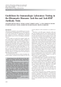 Guidelines for immunologic laboratory testing in the rheumatic diseasesAnti-Sm and anti-RNP antibody tests.
