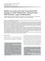 Health care costs and costs associated with changes in work productivity among persons with systemic lupus erythematosus.