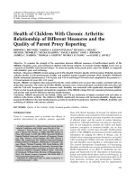 Health of children with chronic arthritisRelationship of different measures and the quality of parent proxy reporting.