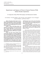 Impairment and impact of pain in female patients with Ehlers-Danlos syndromeA comparative study with fibromyalgia and rheumatoid arthritis.