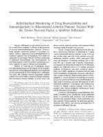 Individualized monitoring of drug bioavailability and immunogenicity in rheumatoid arthritis patients treated with the tumor necrosis factor ╨Ю┬▒ inhibitor infliximab.