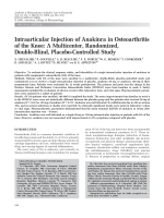 Intraarticular injection of anakinra in osteoarthritis of the kneeA multicenter randomized double-blind placebo-controlled study.