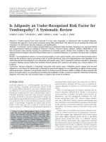 Is adiposity an under-recognized risk factor for tendinopathy A systematic review.