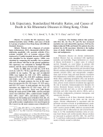 Life expectancy standardized mortality ratios and causes of death in six rheumatic diseases in Hong Kong China.
