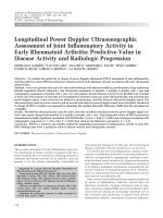 Longitudinal power Doppler ultrasonographic assessment of joint inflammatory activity in early rheumatoid arthritisPredictive value in disease activity and radiologic progression.