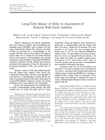 Long-term impact of delay in assessment of patients with early arthritis.