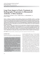 Long-term impact of early treatment on radiographic progression in rheumatoid arthritisA meta-analysis.