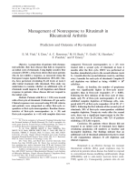 Management of nonresponse to rituximab in rheumatoid arthritisPredictors and outcome of re-treatment.