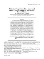 Material properties of the inner and outer cortical tables of the human parietal bone.