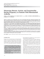 Measuring disease activity and functionality during pregnancy in patients with rheumatoid arthritis.