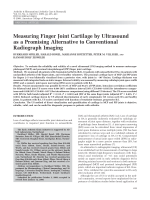Measuring finger joint cartilage by ultrasound as a promising alternative to conventional radiograph imaging.