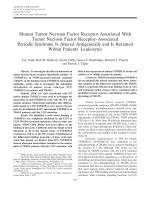 Mutant tumor necrosis factor receptor associated with tumor necrosis factor receptorassociated periodic syndrome is altered antigenically and is retained within patients' leukocytes.