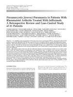 Pneumocystis jiroveci pneumonia in patients with rheumatoid arthritis treated with infliximabA retrospective review and casecontrol study of 21 patients.