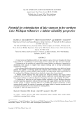 Potential for reintroduction of lake sturgeon in five northern Lake Michigan tributariesa habitat suitability perspective.