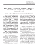 Power doppler ultrasonographic monitoring of response to antitumor necrosis factor therapy in patients with rheumatoid arthritis.
