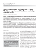 Predicting depression in rheumatoid arthritisThe signal importance of pain extent and fatigue and comorbidity.