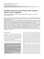 Problems experienced by people with arthritis when using a computer.