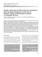 Quality appraisal of clinical practice guidelines and consensus statements on the use of biologic agents in rheumatoid arthritisA systematic review.