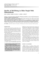 Quality of well-being in older people with osteoarthritis.