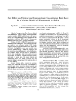 Sex effect on clinical and immunologic quantitative trait loci in a murine model of rheumatoid arthritis.