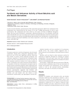 Synthesis and Anticancer Activity of Novel Betulinic acid and Betulin Derivatives.