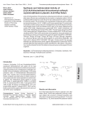 Synthesis and Antimicrobial Activity of {2-[2-N N-disubstituted thiocarbamoyl-sulfanyl-acylamino] thiazol-4-yl}acetic Acid Ethyl Esters.