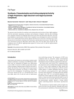 Synthesis Characterization and Antimycobacterial Activity of AgI-Aspartame AgI-Saccharin and AgI-Cyclamate Complexes.