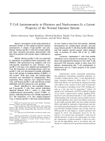 T cell autoimmunity to histones and nucleosomes is a latent property of the normal immune system.