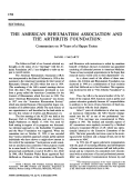 The american rheumatism association and the arthritis foundationcommentary on 14 years of a happy union.