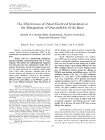 The effectiveness of pulsed electrical stimulation in the management of osteoarthritis of the kneeResults of a double-blind randomized placebo-controlled repeated-measures trial.