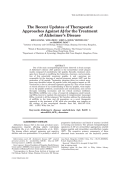The Recent Updates of Therapeutic Approaches Against A╬▓ for the Treatment of Alzheimer's Disease.